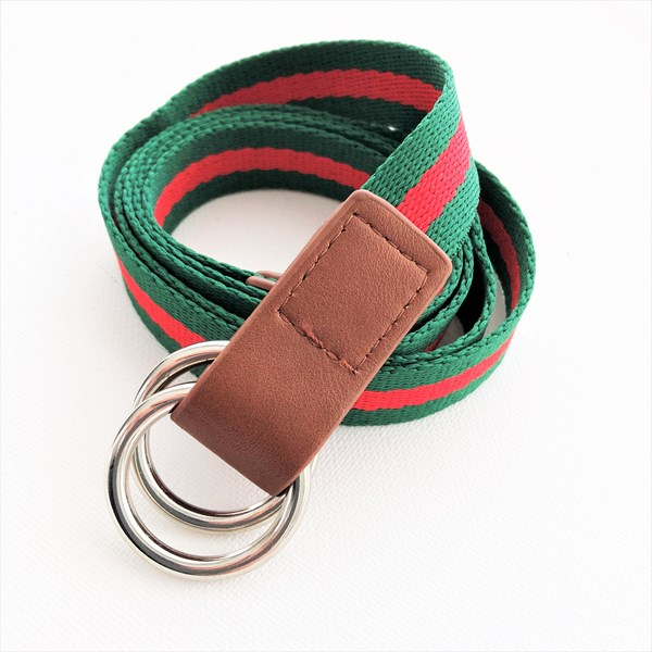 Striped Webbing Metal Ring Adjustable Belt