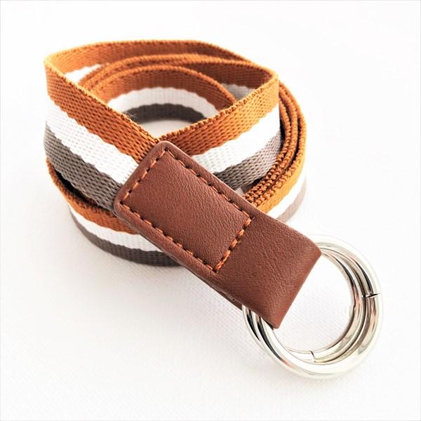 Striped Webbing Metal Ring Adjustable Belt