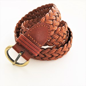 Narrow Plaited Vegan Leather Belt