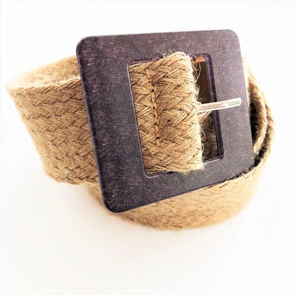 Timber Look Resin Buckle Jute Weave Belt