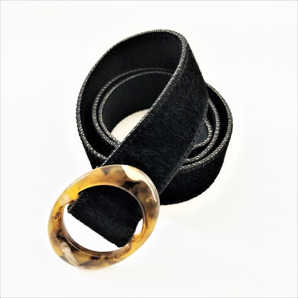 Oval Resin Buckle Velvet Belt