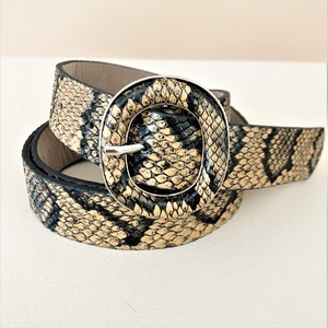Metal Oval Snake Print Belt