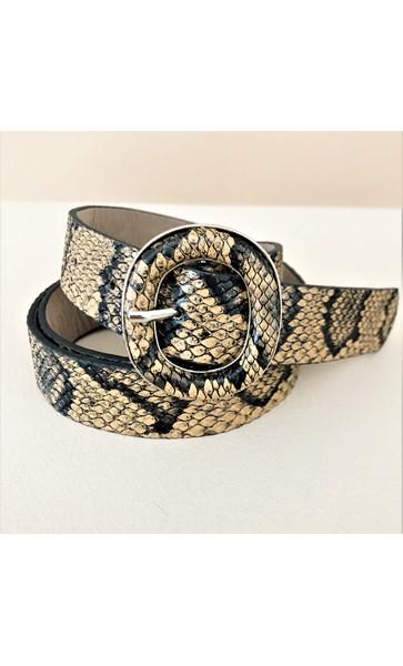 Metal Oval Snake Print Belt