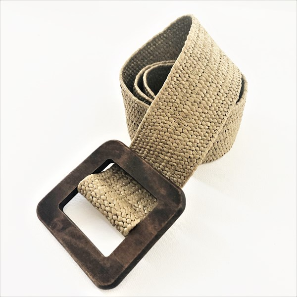 Square Timber Buckle Textured Weave Belt