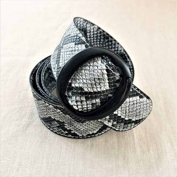 Snake Print Resin Buckle Adjustable Belt