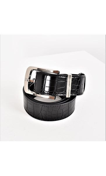 Small Croc Embossed Silver Buckle Belt