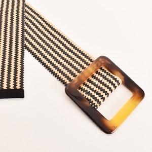 Large Resin Buckle Striped Stretch Belt