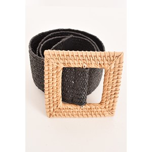 Rattan Square Buckle Stretch Belt