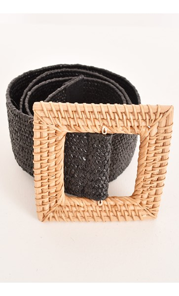 Rattan Square Buckle Stretch Belt