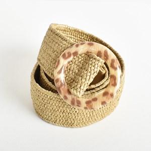 Leopard Resin Ring Stretch Weave Belt