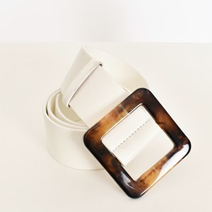 Faux Leather Resin Buckle Belt