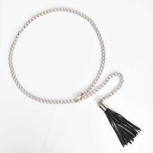Chain and Leather Tassel Belt 100cm