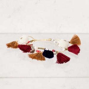 Two Strand Mini Tassel Pom Pom Bracelet