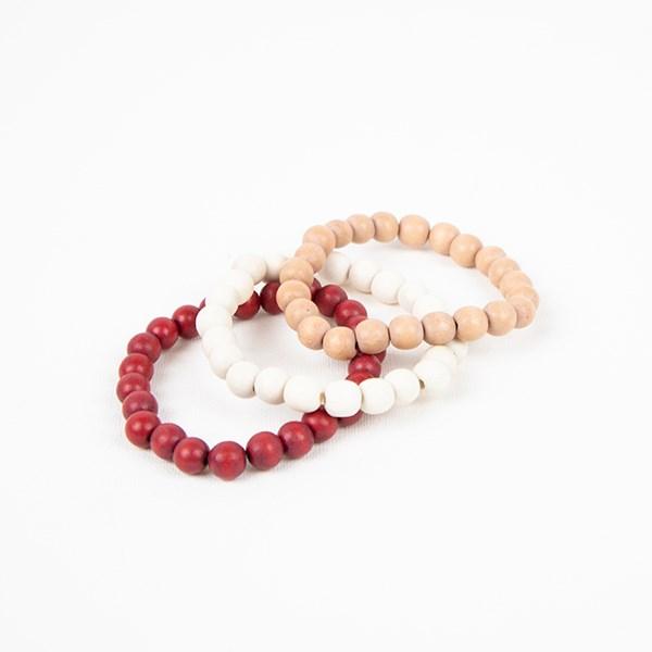 Three Strand Timber Bead Bracelet