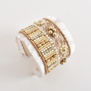 Bead Panel Fringe Edge Cuff