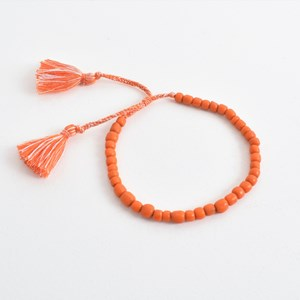 Small Glass Bead with Tassel Bracelet