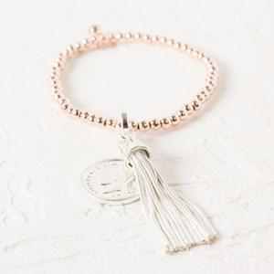 Coin & Tassel Charm Mini Ball Bracelet