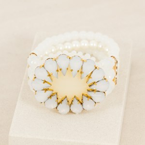 Jewelled Oval Pearl & Stone Cuff