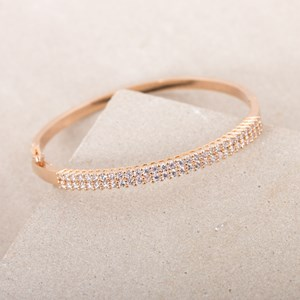 Fine Diamante Hinge Metal Bangle