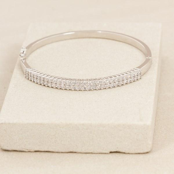 Fine Diamante Hinge Metal Bangle