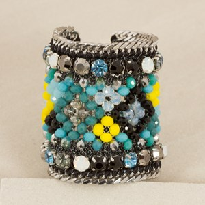 Crystal Embellished Lurex & Chain Wide Cuff