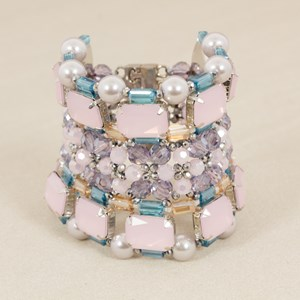 Mixed Crystal & Jewel Wide Cuff