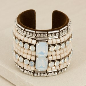 Jewel & Diamante Velvet Open Cuff