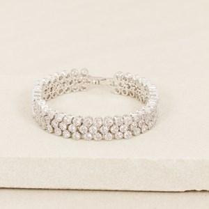 16.5cm CZ 3 Row Rubover Diamante Bracelet