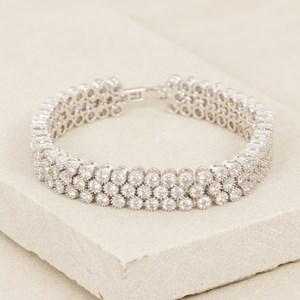 18.5cm CZ 3 Row Rubover Diamante Bracelet