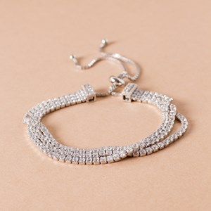 CZ Three Strand Diamante Adjustable Bracelet