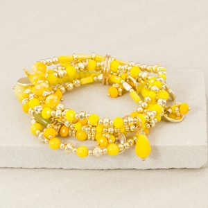 Stone Mix Five Strand Bracelet Set