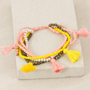 Tassel Multi Strand Bead Adjustable Bracelet