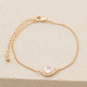CZ Diamante Edge Jewel Teardrop Fine Bracelet