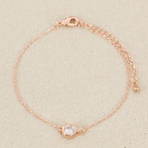 CZ Rubover Solitaire Fine Bracelet