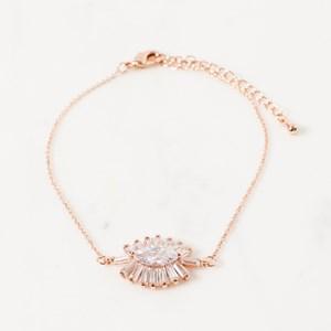 CZ Baguette Almond Fine Bracelet