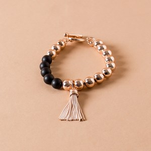 Resin & Metal Balls Tassel Toggle Bracelet