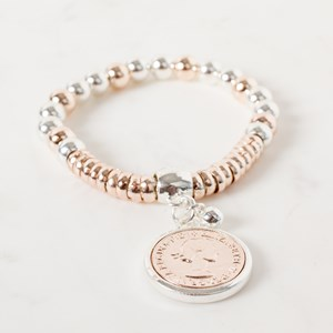 Coin Metal Ball & Ring Mix Bracelet