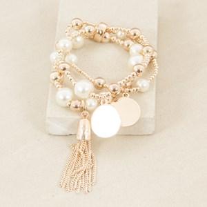 Three Strand Metal Ball & Pearl Tassel Bracelet