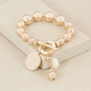 Pearl & Disk Toggle Cluster Metal Balls Bracelet