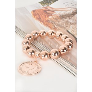 Coin Charm Large Metal Ball Bracelet