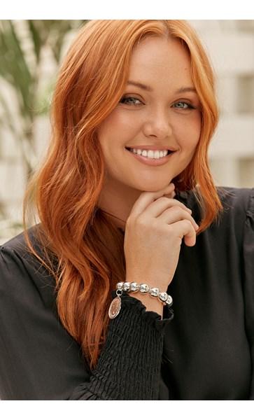 Coin Charm Large Metal Ball Bracelet