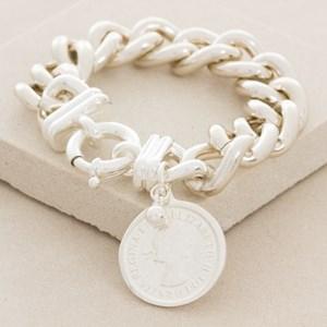 Coin Charm Chunky Alloy Chain Bracelet