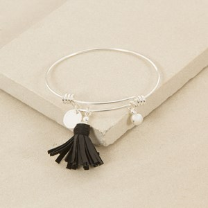 Adjustable Charm with Leather Tassel Bracelet