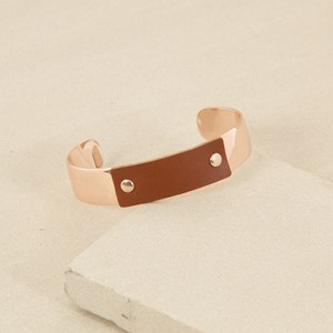 Bar Cuff with Leather Panel