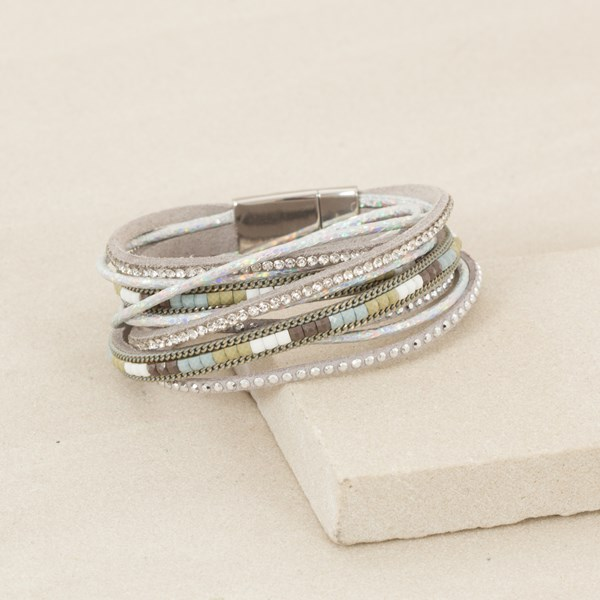 Double wrap Faux Leather and Diamante Cuff