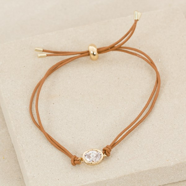Fine Leather Bracelet with Oval Diamante