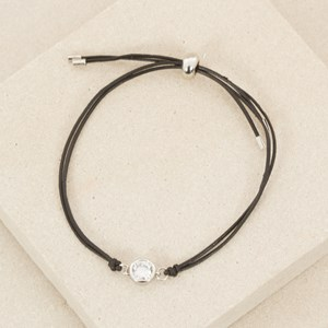 Fine Leather Bracelet with Round Diamante