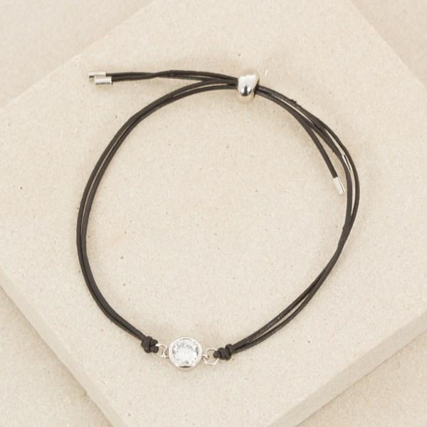 Fine Leather Bracelet with Round Diamante