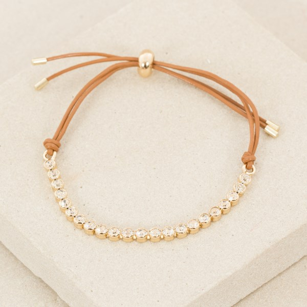 Fine Leather Bracelet with Rub over Row Diamantes