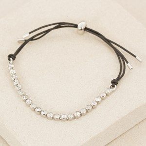 Fine Leather Bracelet with Rub over Row Diamantes
